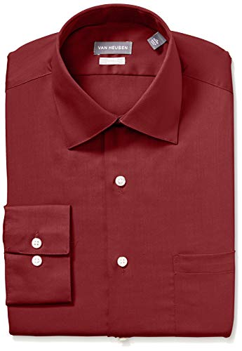 Van Heusen Men's Dress Shirts Fitted Lux Sateen Stretch Solid Spread Collar, red, 18
