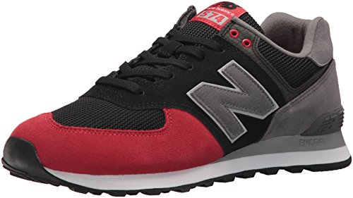 New Balance Men's 574 Serpent Luxe Sneaker,Black With Team Red,11 2E US (Sneaker Red Mens Black Team)