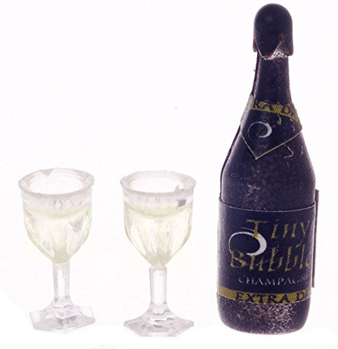 1:12 Scale Bottle of Champagne w/Two Glasses (Miniature Champagne Bottles)