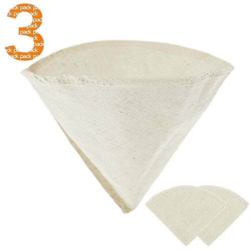 #4 Hemp and Organic Coffee Filter Cotton Cloth - Reusable, All Natural, Unbleached, Eco-friendly cone coffee filter - Size No. 4