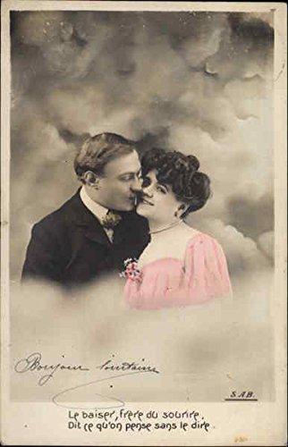 Couple In Clouds Romance & Love Original Vintage Postcard
