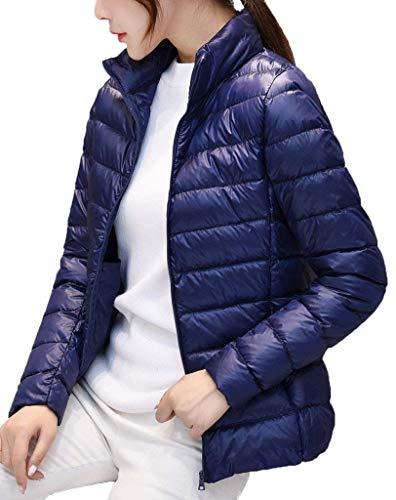 Jacken Dunkelblau Casual Femme Slim Quilting Hiver Unicolore Doudoune Confortables Manteau Manches Chic À Automne Longues Fit Mode Fermeture Fashion Avec Blouson Capuchon Éclair 1nCBxwq5pC