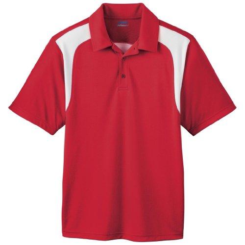 - Ash City Mens E Performance Polo Shirt (Medium, Classic Red/White)
