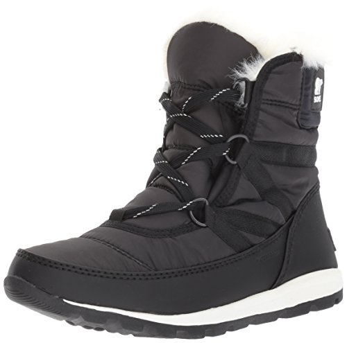 Sorel Women's Whitney Short Lace Snow Boot, Black, Sea Salt, 9 M US