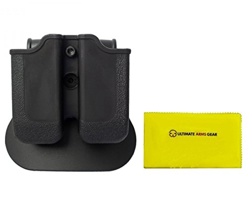 IMI Defense Z2030 MP03 Double Magazine Pouch 360° Rotate Holster CZ, WALTHER P88, P99, PPQ M1 (Classic), M2, Black + Ultimate Arms Gear Care Silicone Cleaning Cloth