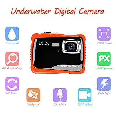 Underwater Camera for Kids, Waterproof Digital Camera Children Gift Mini Action Sport Camcorder 12MP HD/2.0 Inch LCD Display/8X Digital Zoom with 8GB SD Card & Batteries