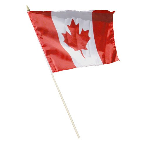 - Canada Canadian Large 12 X 18 Inch Country Stick Flag Banner on a 2 Foot Wooden Stick .. Great Quality Polyester ... New