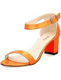 Women's Fashion Buckle Mid Chunky Heel Sandals
