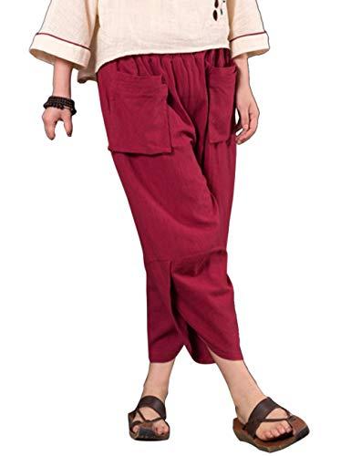 Zhhlinyuan Unisexe Harem Pantalon Lanterne Baggy en Vrac Pantalon - Coton Lin Taille Elastique t Confortable Trouser Vin Rouge