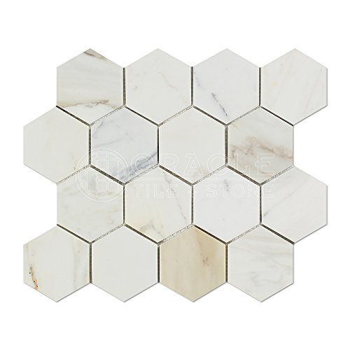 Calacatta Gold  Marble 3 inch Hexagon Mosaic Tile, Polished