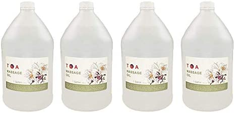 TOA Hydrating Body Spa Massage Oil Unscented Case of 4 Gallons