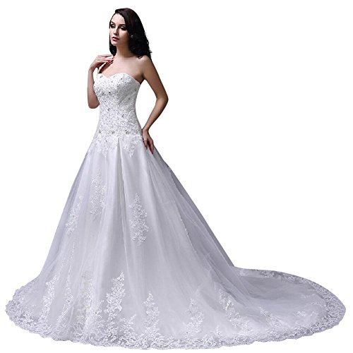 Organza Strapless A-line Skirt (Women's New Strapless Organza A-line Lace Wedding Gown Ivory 3X)