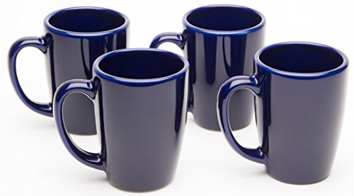 American Mug Pottery Ceramic Bistro Style Coffee Mug, Made in USA, Cobalt Blue, 14 oz - Pack of 4 (14 Ounce Bistro Mug)