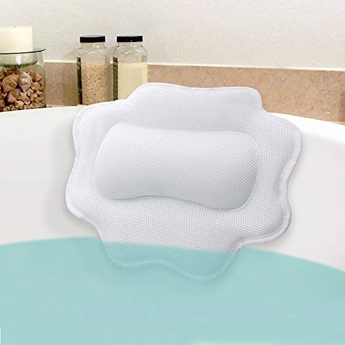 Beautypical Anti-Mold Bathtub Spa Pillow, Non-Slip 4 Strong Suction Cups, bath pillows for tub, Head, Neck, Shoulder Support, Breathable Relax Comfort