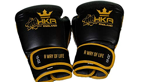 HKA Boxing Gloves 12oz Best Essential Boxing Kickboxing Fitness Training & Sparring UK England for Men Women & Kids Punching Muay Thai UFC MMA Easy Velcro Closure for Quick Wear and Take Off (Best Boxing Hand Wraps Uk)