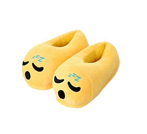 DELEY Unisex de dibujos animados Emoji Zapatillas de Invierno Cálido Expresión de la Felpa de la Casa de los Zapatos Doze