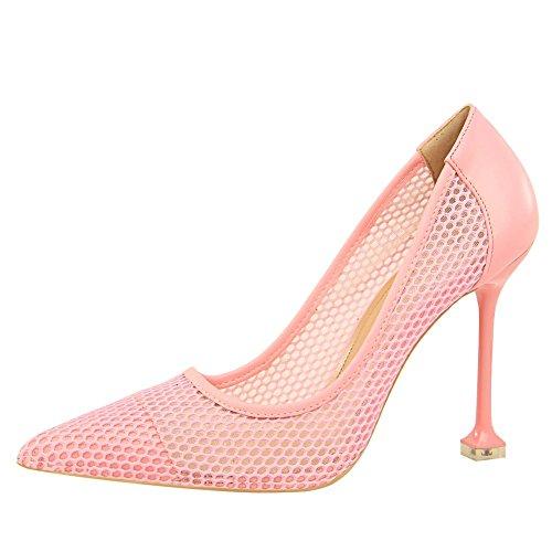 Mee Shoes Women's Chic Slip on High Heel Court Shoes Pink Z5WAZkRrB