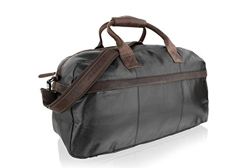 Woodland Leather Black With Brown Contrast Leather Large Travel Holdall 21.0