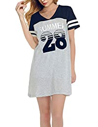 Nightshirts for Women Plus Szie Scoop Neck Sleep Tee Nightshirt SWISSWELL