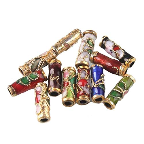 NYKKOLA Colorful Flower Tube Enamel Cloisonne Beads Fit Jewelry Making (Pack of 50) (Beads Jewelry Tube)