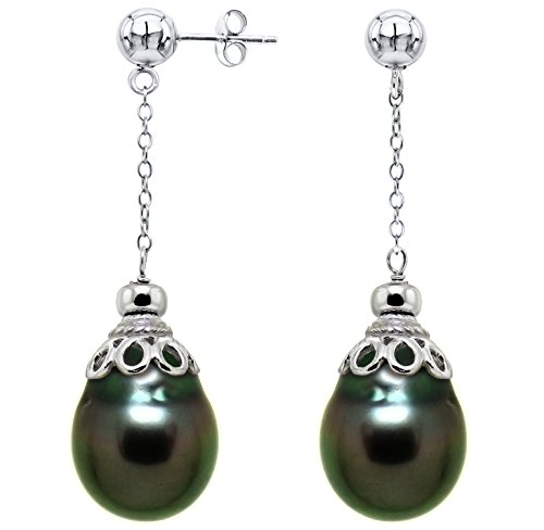 Sterling-Silver-10-105mm-Black-Off-Shape-Tahitian-Cultured-Pearl-Cup-Design-Stud-Dangle-Earrings