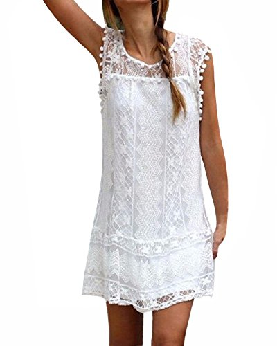 StyleDome Women's Lace Crochet Elegant Sleeveless Hollow Out Beach Cocktail Slim Party Mini Maxi Dress Summer Sundress White US 12