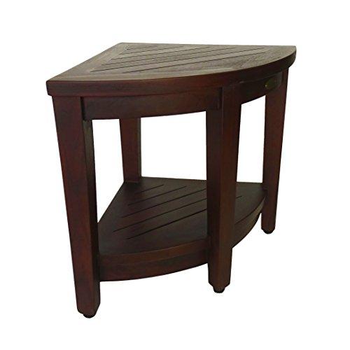 Oasis FULLY ASSEMBLED Teak Corner Shower Bench With Shelf - Shower Sitting, Storage, Shaving Foot Rest