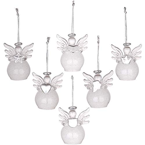 Sea Team Mini Sized Clear Glass Angel Ornaments for Christmas Tree Decorations, 50mm/1.97-inch, Set of 12 (Silver) (Ornaments Christmas Transparent)