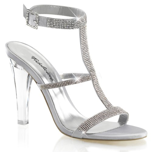 Fabulicious Clearly-418 sexy transparente High Heels Strass Sandaletten, Satin Silber, 35-42