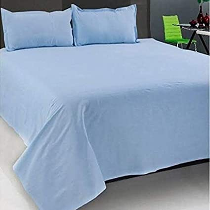 SinghsVillas Decor Cotton Plain Double Bed Sheet with 2 Pillow Covers, Queen, Blue