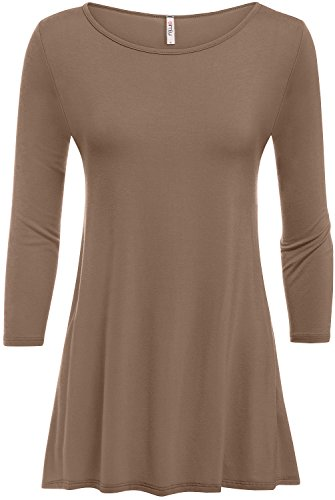 Mocha Tunic for Women 3/4 Sleeve Loose Fit Swing Tunic Tops Basic T Shirt