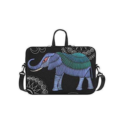 Embroidery Elephant Artwork Clothing Patches Stickers Briefcase Laptop Bag Messenger Shoulder Work Bag Crossbody Handbag for Business Travelling