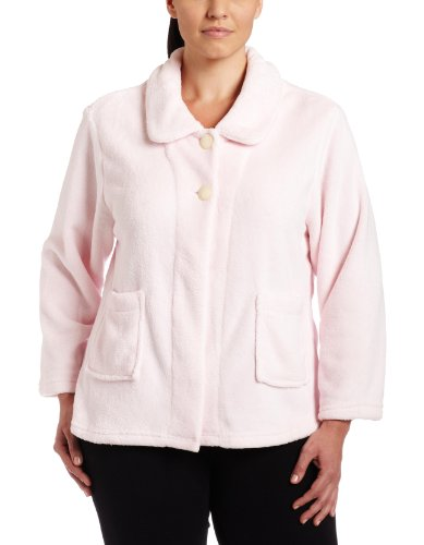Casual Moments Womens Plus-Size Bed Jacket With Peter Pan Collar, Light Pink, 3X