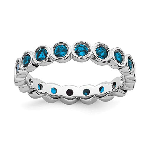 (925 Sterling Silver Blue Topaz Band Ring Size 7.00 Stone Stackable Gemstone Birthstone December Fine Jewelry Gifts For Women For Her)