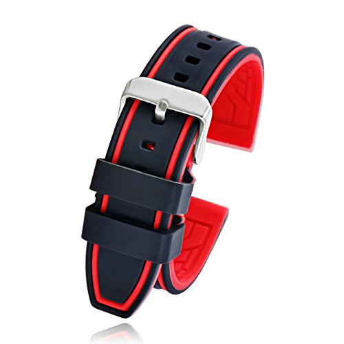 Silicone Rubber Watch Strap Sport Diver Watch Band Black Red Orange Blue Gray 20mm 22mm 24mm 26mm