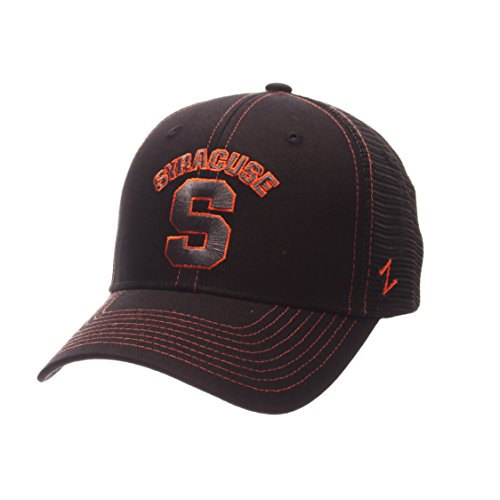 (NCAA Syracuse Orange Adult Men's Staple Trucker Blackout Cap, Adjustable Size, Black)