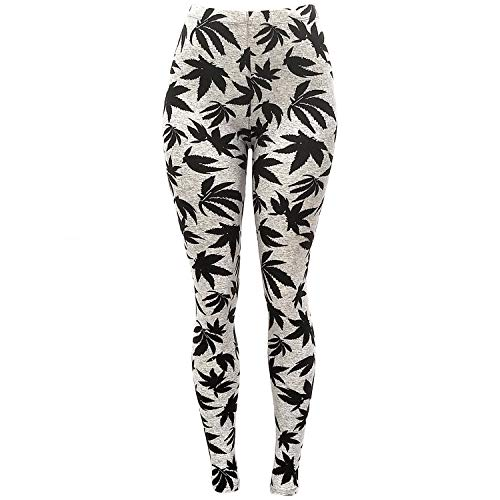 Women's Maple Marijuana Leaf Patterned Leggings -One Size (Heather MJ)