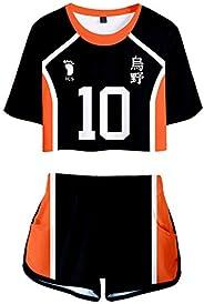 PandaOne Basic Haikyuu!! T-Shirt Suit Volleyball Sports Crop Tops and Shorts Japanese Anime Haikyuu Tracksuits
