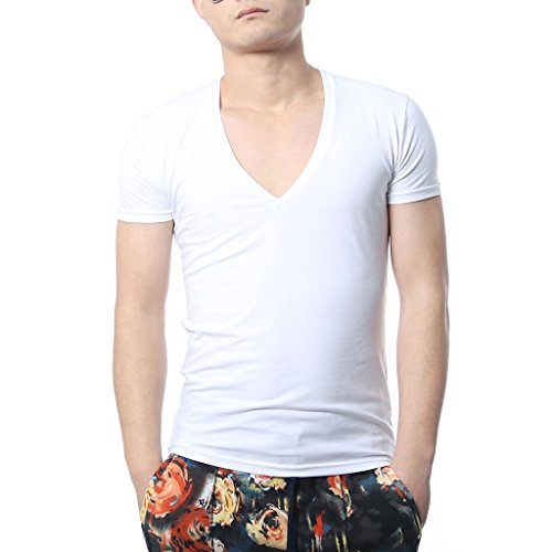 Deep V-neck Undershirt (Zbrandy Men Deep V Neck T-Shirts Men Tshirts Vneck Tees White Size L)