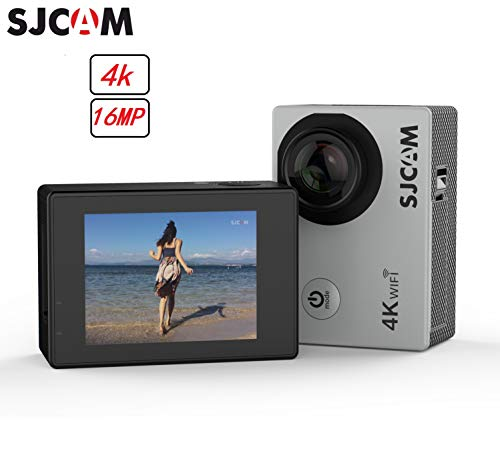 2018-Original SJCAM SJ4000 Air Action Camera 4K WiFi Underwater Cam 16MP Ultra HD Waterproof Sports Camera 170°Wide-Angle 2 Inch LCD Mounting Accessories Kit (Silver)