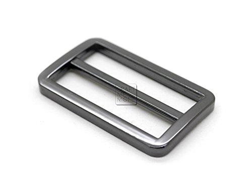 [CRAFTMEmore Flat Metal Slide Buckle Triglide Strap Keeper Leathercraft Bag Belt Adjuster Sliders 6 Pack (1 1/2 Inches, Gunmetal)] (Skull Buckle Metal)