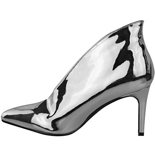 Argenté femme style métallisé enfiler hauts Sandales bottines ouverture enfiler western à V soirée talons à en qwvwFPWp