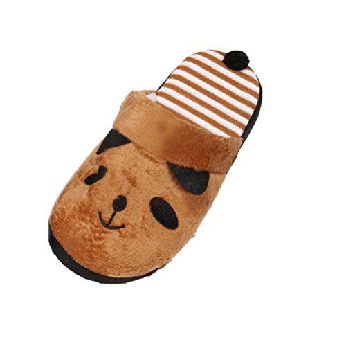 Bluester Women Lovely Cartoon Panda Home Floor Soft Stripe Slippers Female Shoes Coffee xEpS9C
