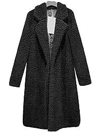 Women's Fuzzy Fleece Lined Coat Open Front Long Cardigan Faux Fur Warm Coats Winter Outwear Sherpa Jackets