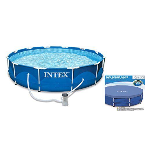Intex 10 x 2.5 Foot Metal Frame Swimming Pool Set w/ Filter Pump + Debris Cover by INTEX