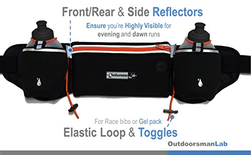 Hydration Belt for Running with Water Bottles (2x BPA free 10 Oz) Fits iPhone 6s plus Neoprene Fuel Belt for Running,Race,Marathon,Hiking Men & Women Runners belt with Water bottles