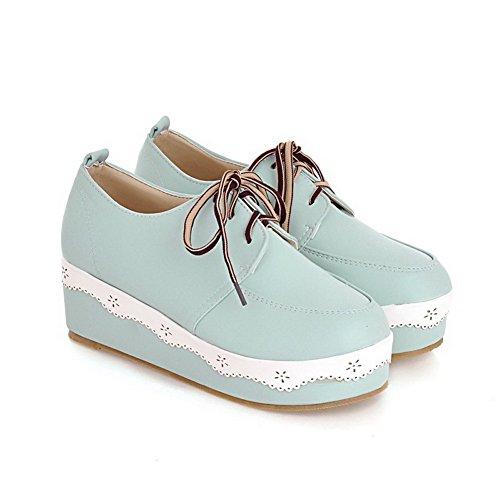 AllhqFashion Damen Rund Zehe Mittler Absatz Weiches Material Schnüren Pumps Schuhe Blau