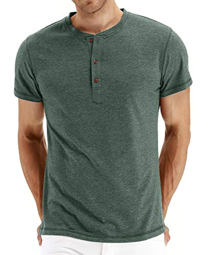 PEGENO Men's Casual Slim Fit Short Sleeve Henley T-shirts Cotton Shirts (US Small, 01 Vg-Green)