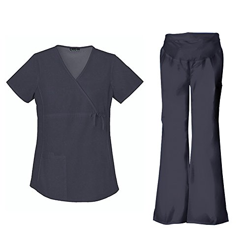 Cherokee Flexibles Maternity Mock Wrap Top 2892 & Flare Leg Pant 2092 Scrub Set (Pewter - Small / Small (Flexibles Maternity Wrap Top)