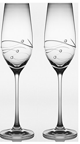 Barski - Handmade Glass - Set of 2 - Wedding Toasting Champagne Flutes - Glasses Are Decorated with Real Swarovski Diamonds - Packed In a Premium Gift Box - 7 oz. - Made in Europe (Champagne Boxed)